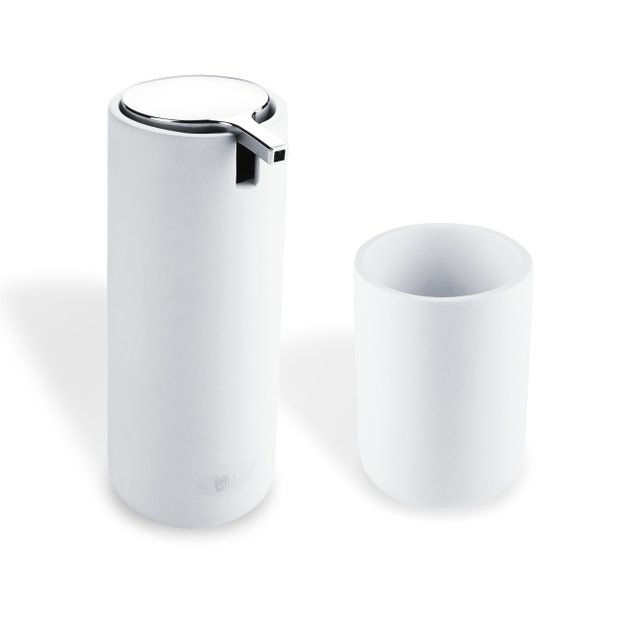 OMI set dávkovač na tekuté mýdlo s kelímkem, bílý (OM 1605831-05)